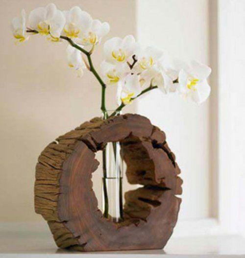 Amazing Kreative Ideen zum Selbermachen Besorgen Sie sich einen Baumstumpf und formen Sie ihn in Form einer Vase indem Sie sein Inneres entfernen und