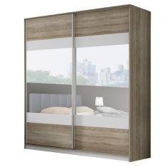 Skříň se zrcadlem 2 m dub sonoma troufám / šedá / zrcadlo MADISON NEW.