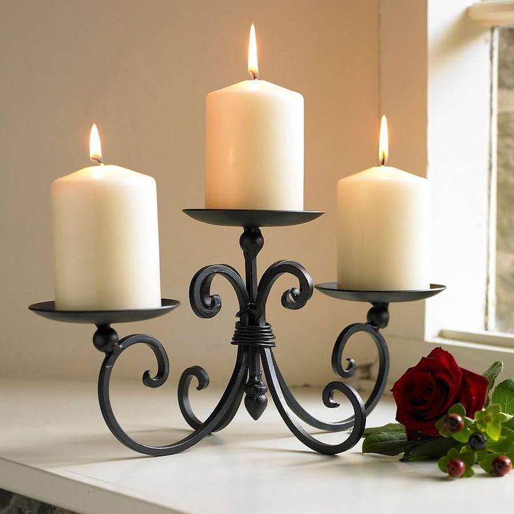 three pillar iron candle display by dibor | notonthehighstreet.com