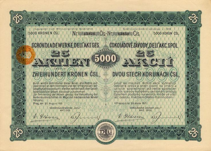 """Čokoládové závody """"DELI"""" akc. spol. (Schokoladewerke """"DELI"""" Akt. Ges.). Akcie na 25x 200 Kč (5 000 Kč). Praha, 1921."""