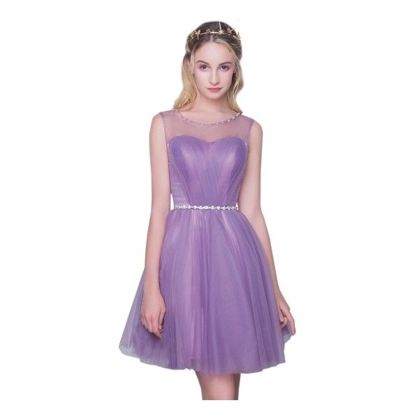 Women's Sleeveless Back Lace-up Bridesmaid Party Cocktail Dress ($40) ❤ liked on Polyvore featuring dresses, light purple, sleeveless dress, holiday party dresses, light purple bridesmaid dresses, purple dress and lavender dress