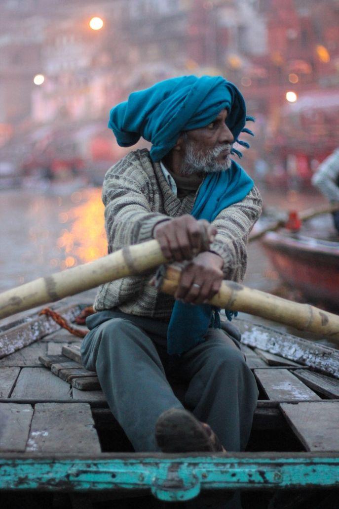 Sunrise in Varanasi. Boat trip down the Ganges river.
