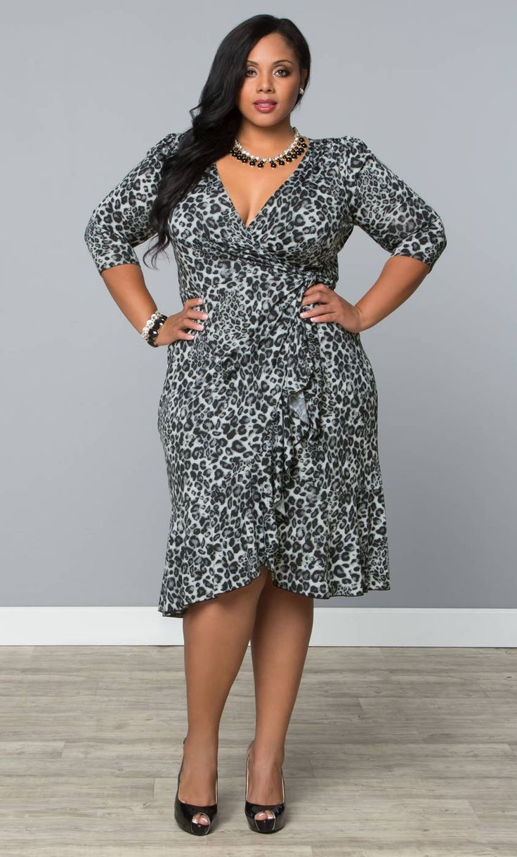 Be The Cat S Meow In Our Plus Size Snow Leopard Print Flirty Flounce Wrap Dress