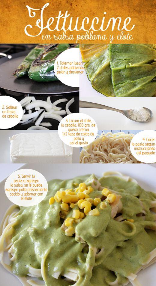 Fettuccine con salsa poblana y elote