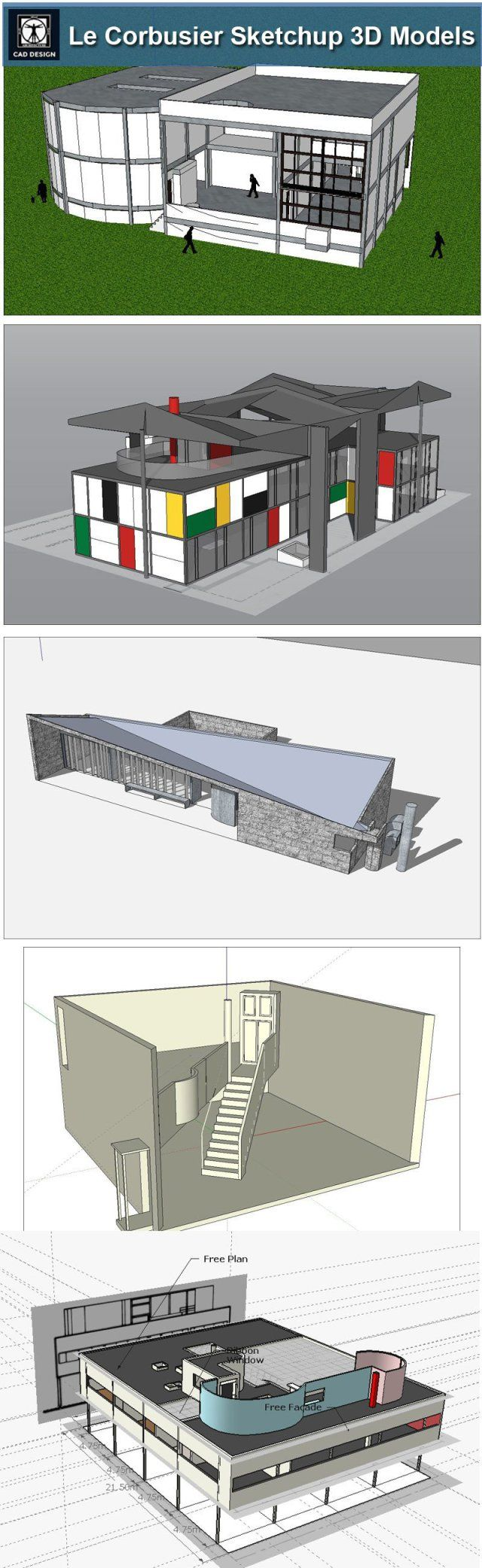 Download 24 types of le corbusier architecture sketchup 3d models skp file format