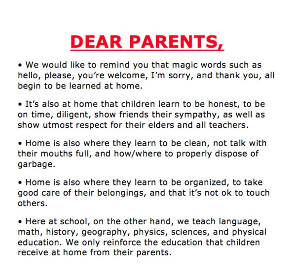 """Dear parents..."""