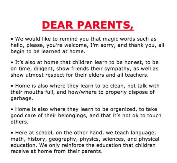 """""""Dear parents..."""""""