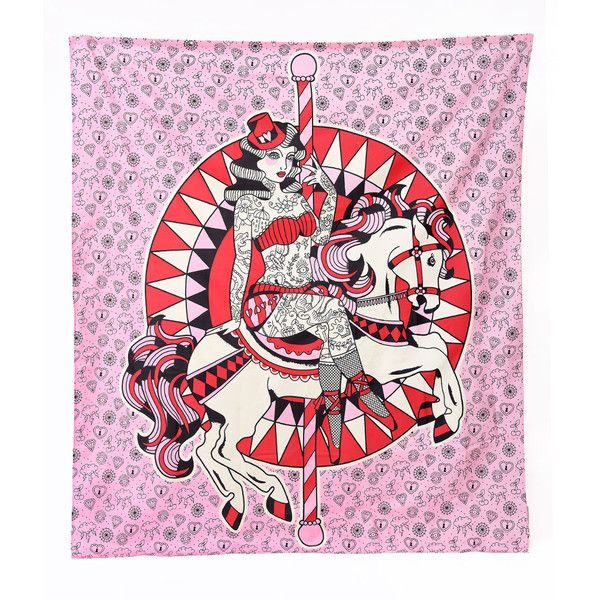 Sourpuss Pink Carousel Horse Tattooed Pin Up Shower Curtain ($17) ❤ liked on Polyvore featuring home, bed & bath, bath, shower curtains, multicolor, pink shower curtains and colorful shower curtains