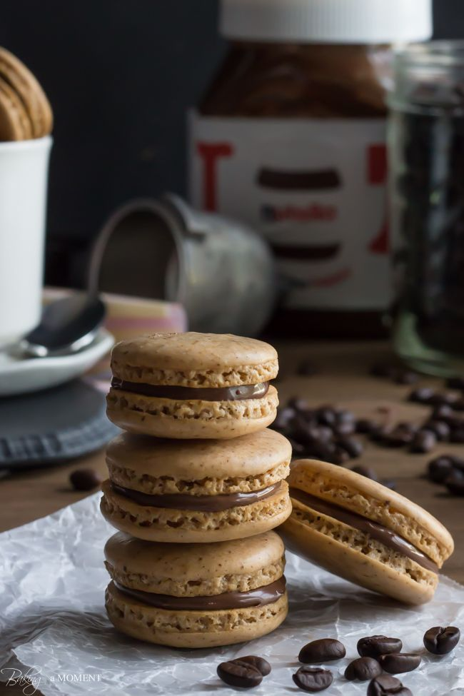 Coffee Macarons with Nutella Filling | Baking a Moment