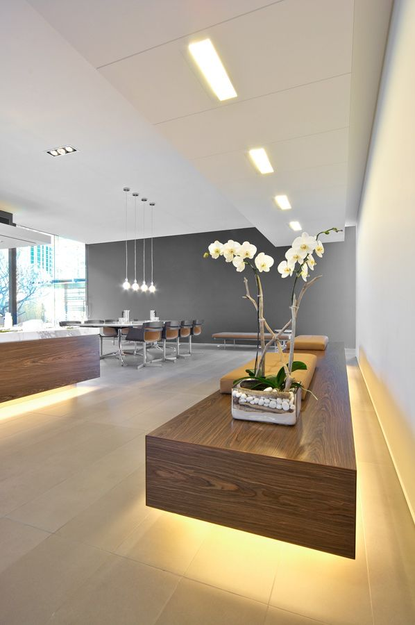 commerical office interior design reception lobby sales display centre timber pendant meeting floating
