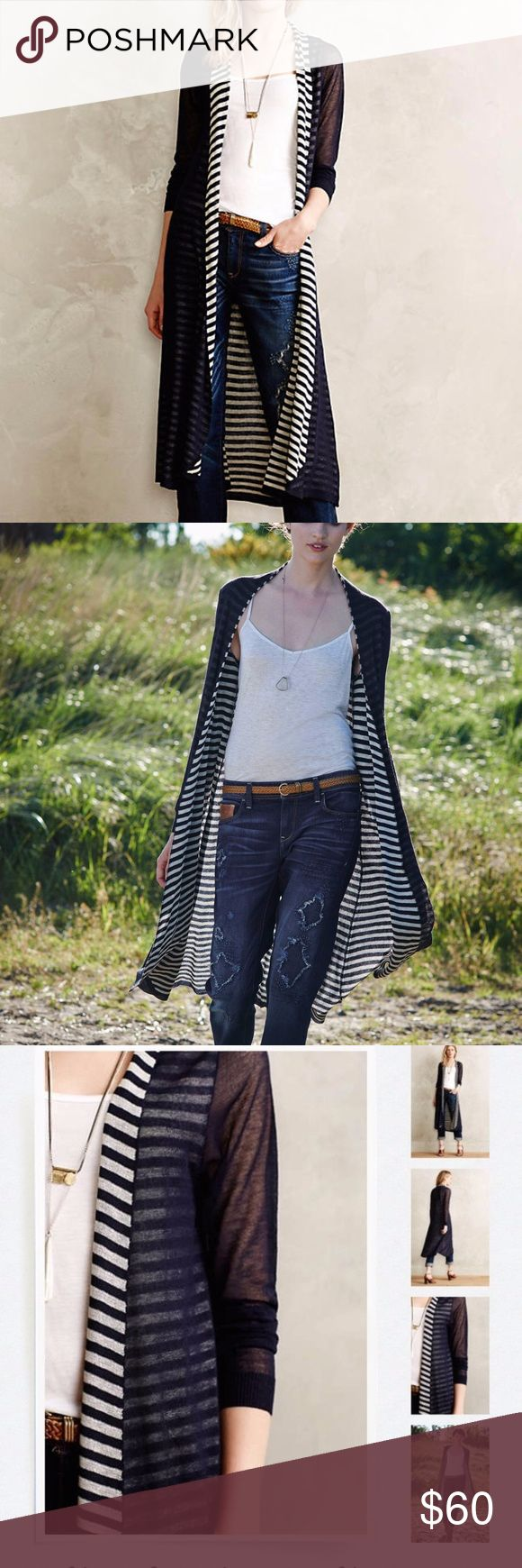 NWT $118 Anthropologie Eclipsed Stripe Cardigan Brand new with tags attached! Sold at Anthropologie back in 2014. Highly reviewed and hard to find. From Anthro: When it comes to basics, we can't get enough of easy, thoughtful pieces that go beyond the call of casual duty. This transitional cardi is a cut above your standard long sleeve layer. A hint of striped lining and an extended length make this piece a wardrobe go-to. This color is called navy/marin by anthro.  By Ladakh Open front…