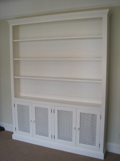 Kitchen Cabinet Covers | Radiator cabinet, with grilles in lower doors, shelves above, painted ...