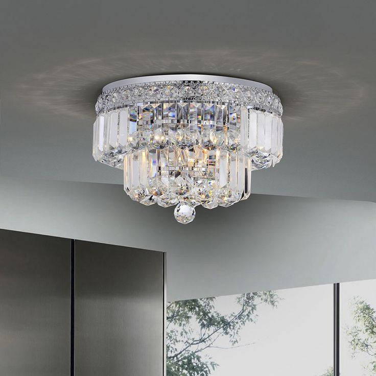 Giselle Chrome Finish Two Tier Crystals Flush Mount