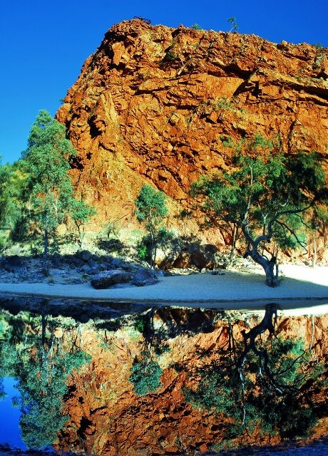 Ormiston Gorge, west of Alice Springs.  This was the first time I went there.  A perfect day, no breeze and the reflections were breathtaking.