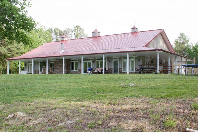 American classics a true metal building home for awesome for Metal building homes with wrap around porch