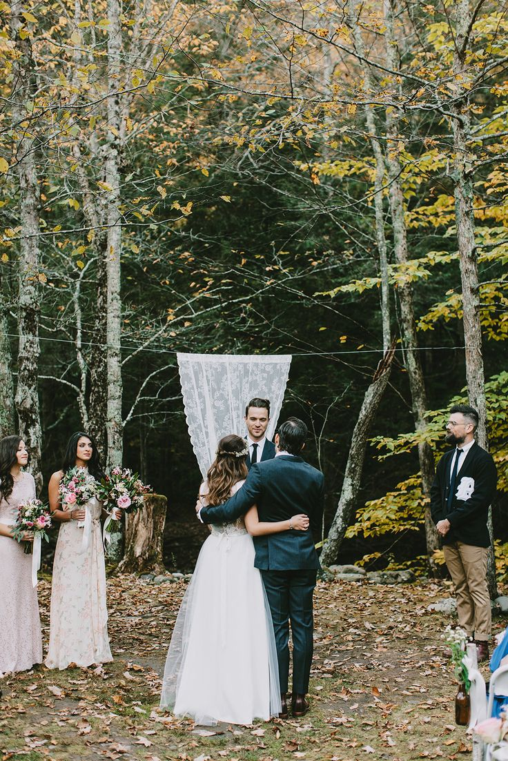 """This Woodsy Wedding Is Low-Key Elegance Mastered #refinery29  http://www.refinery29.com/christine-mcmillen-woods-wedding#slide8  What would you have done differently, if anything?  """"To be perfectly honest, I wouldn't have changed a thing besides my nerves, and that's not something I could control anyway if I went back! Everything happened exactly how I envisioned it, and that feels amazing to say after so much hard work."""""""