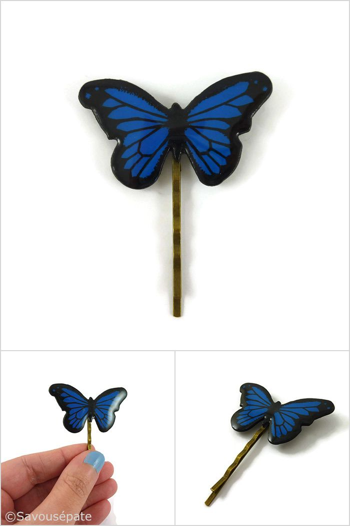 Royal blue and black Morpho butterfly bobby pin, dark blue butterfly hair pin, eco-responsible painted plastic hair accessory (recycled CD) made on order by @savousepate on Etsy #hairaccessory #hairpin #bobbypin #butterfly #morpho #blueandblack #weddinghairaccessory #somethingblue #ecofriendly #ecoresponsible #ecoresponsability #recycling #upcycling