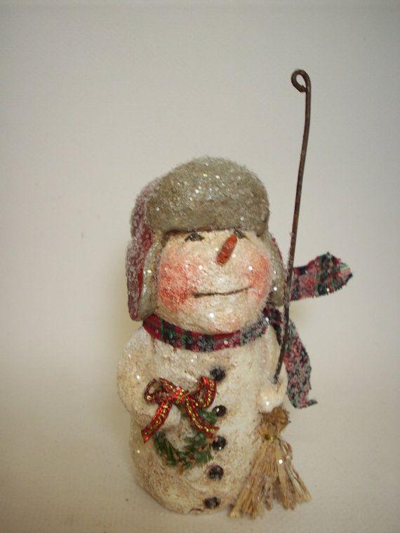 Whimsical Papier Mache Folk Art Snowman