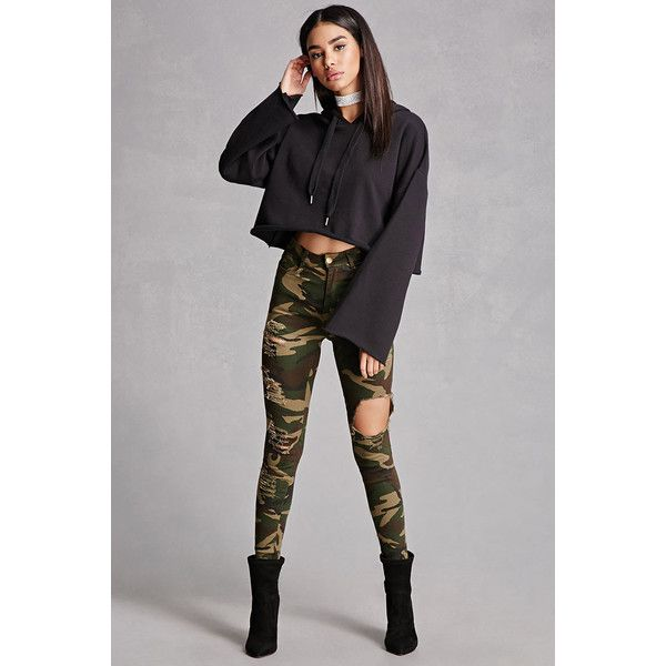Forever21 Distressed Camo Skinny Jeans ($38) ❤ liked on Polyvore featuring jeans, olive, high waisted ripped skinny jeans, high rise skinny jeans, high waisted skinny jeans, olive skinny jeans and olive green skinny jeans