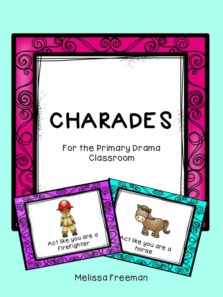 Great for a brain break!  Use these 20 charades cards to get students acting! Each card has a bright picture of a noun (animals, professions) or a verb (sweeping, playing hockey). These are also great to leave as a fun activity for a supply teacher.
