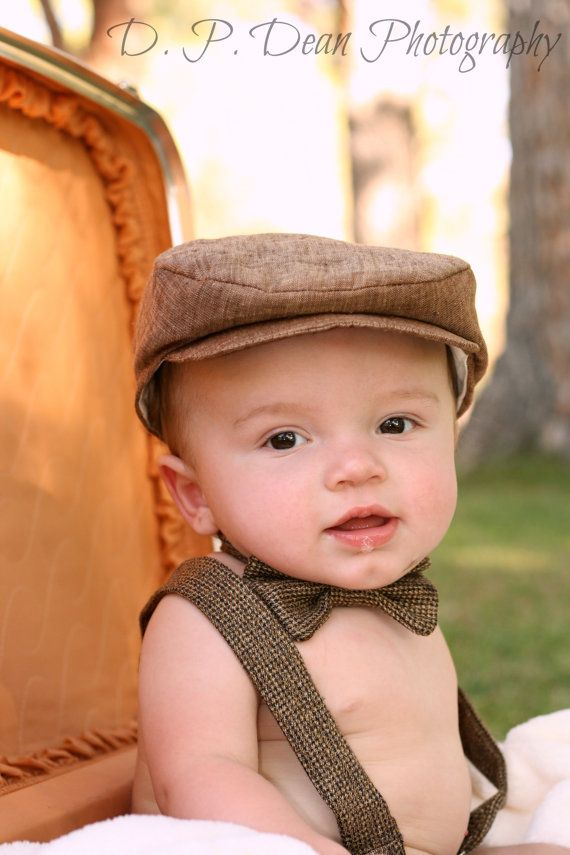 Baby Boy Suspenders and Bow Tie in Brown Tweed by fourtinycousins ... f147cc7cff2