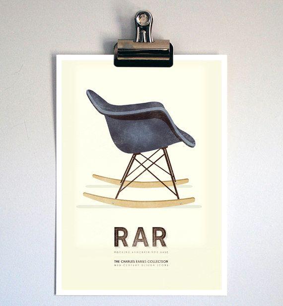 chaise Eames imprimer rétro Charles Eames chaise Illustration Mid siècle Style Art Print Vintage Rocking fauteuil