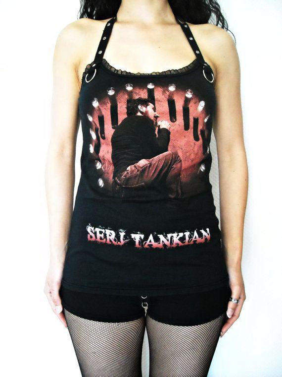 Serj Tankien System of a Down Shirt top heavy Metal Clothing hard rock reconstructed alternative apparel altered halter band tee rocker chic