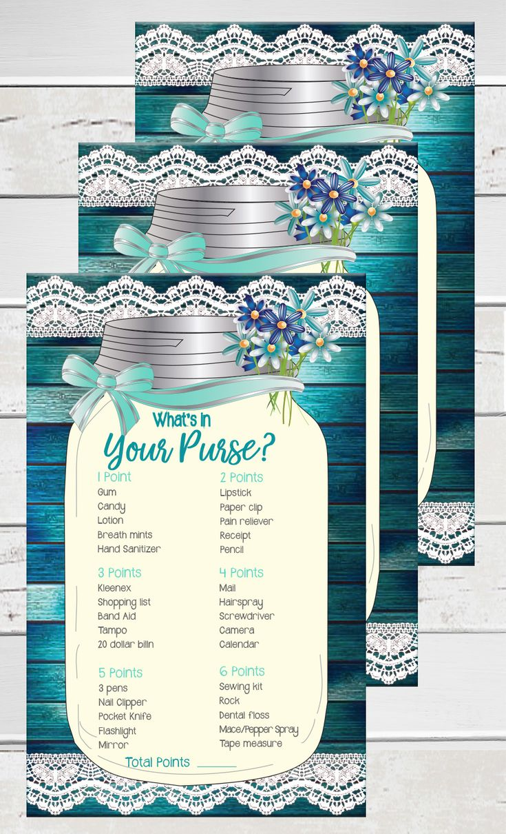 games to play at couples wedding shower%0A What u    s in your Purse bridal shower game with rustic wood background with a  teal green tint