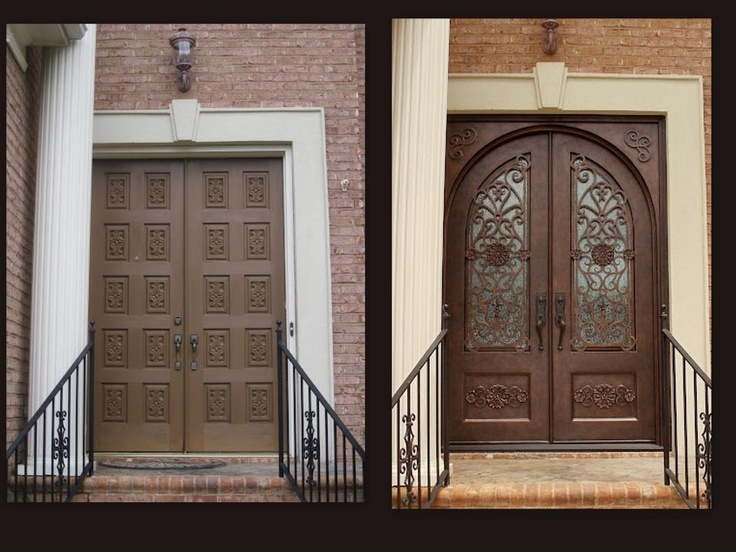 These homeowners wanted an arch top door, but had a square top frame.  Together