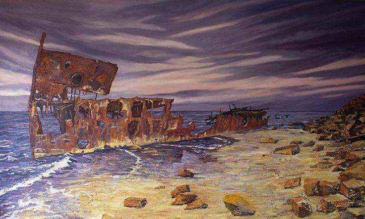 Gayundah: On the Beach Oil on Canvas 200cm x 150cm                                         #shipwreck paintings, #shipwrecks,  #marine art,  #marine artist,  #Gayundah  #Cherry Venture  #rustart
