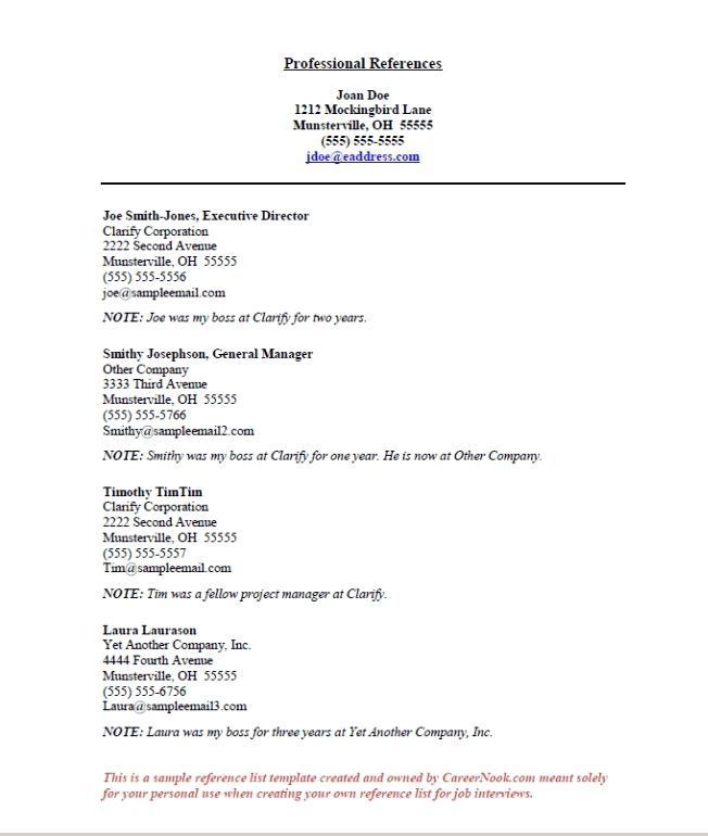 How To Create A Reference List Sheet For Job Interviews