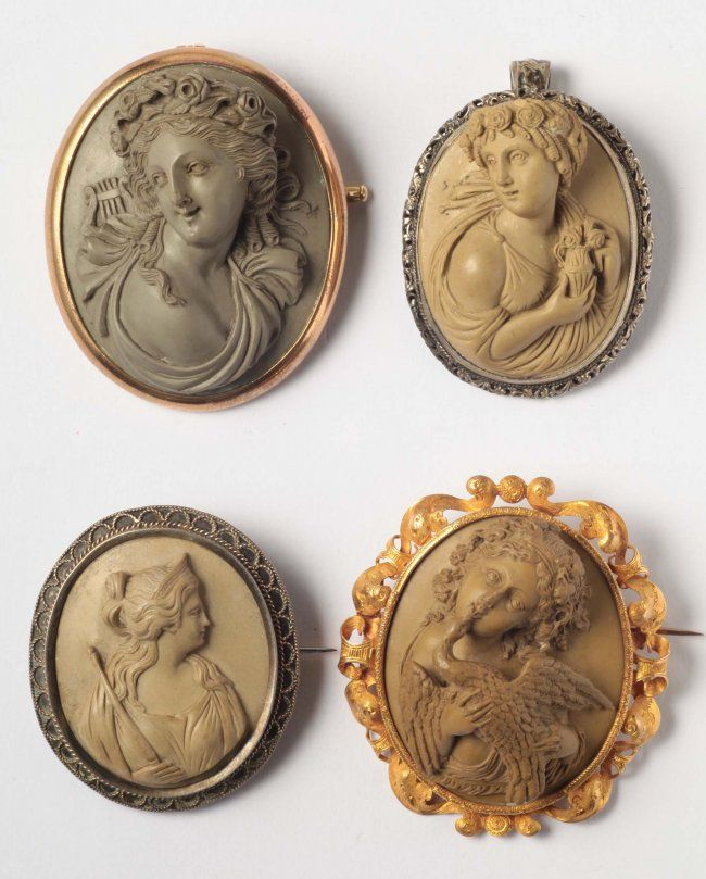 Four 19th Century Lava Cameos in Gold or Silver Mounts.