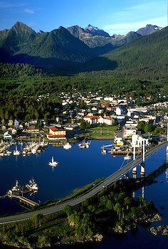 O Connell Bridge view, Sitka Alaska  the most startling thing about this place is that when the sun is shining -it looks just like this. you are in a story book setting that is so lovely  i will never forget the color of the sky when i was a child.