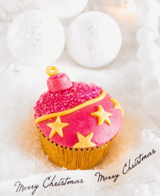 Kerstbal cupcake