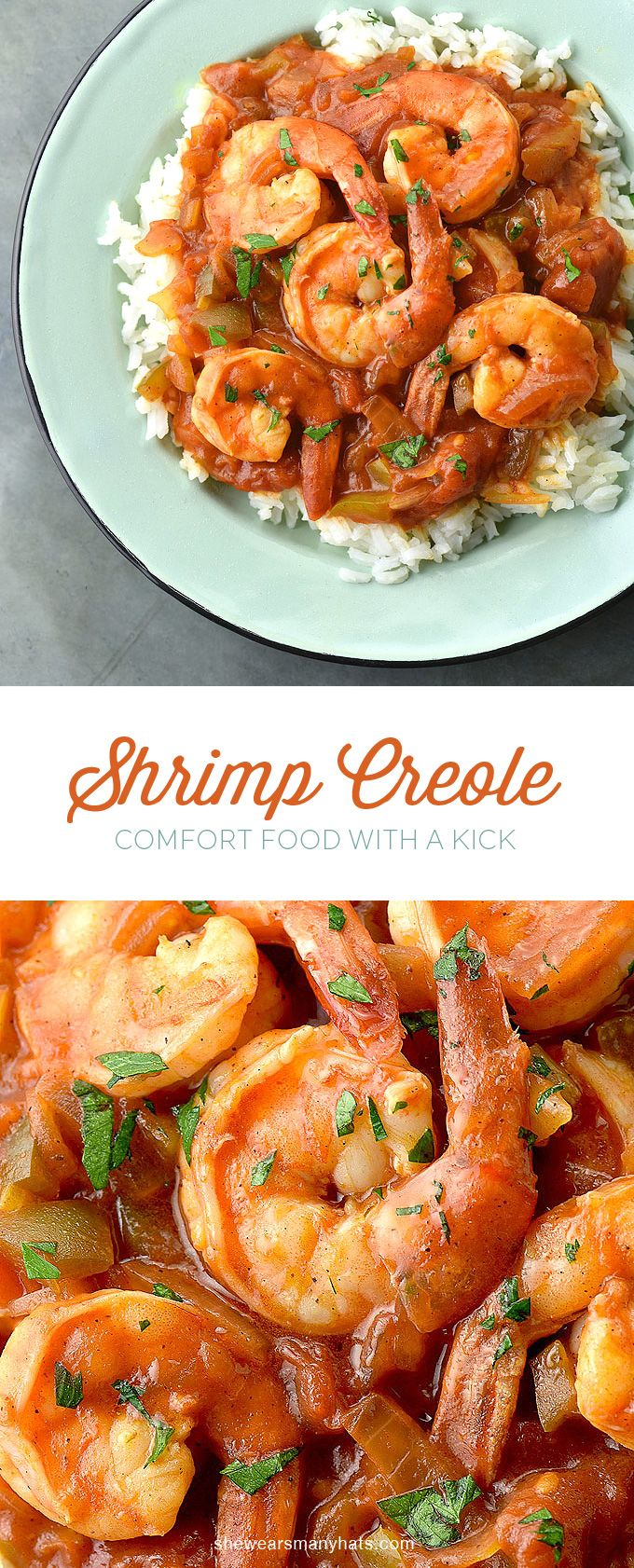 This Shrimp Creole Recipe is a delicious comfort food with a kick! #recipe shewearsmanyhats.com