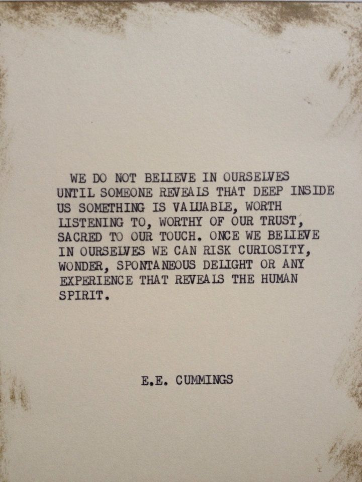 THE EE CUMMINGS: Typewriter quote on 5x7 cardstock by WritersWire