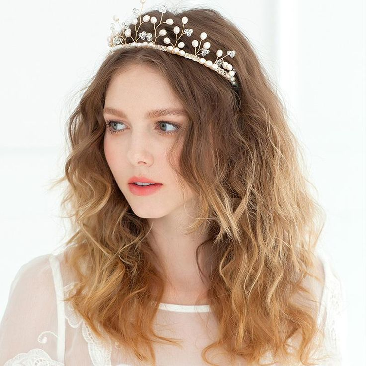 Gold Crystal Princess Tiaras Pearl Hair Accessories Wholesale Cheap Crowns Bridal Wedding Jewelry Headwear