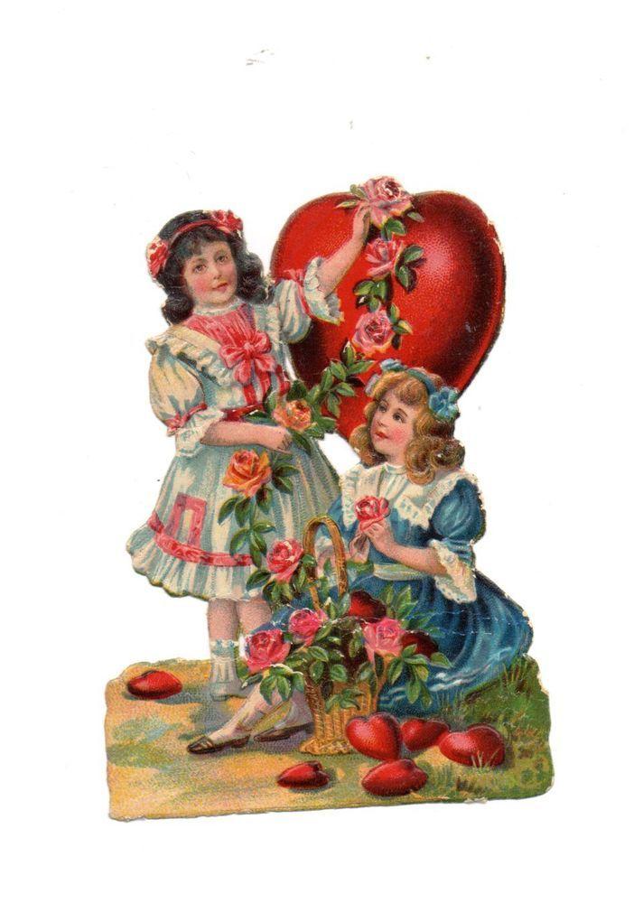 schöne seltene  alte  Oblate - scrap die cut chromo , 2 Mädchen mit Herzen ( 27)