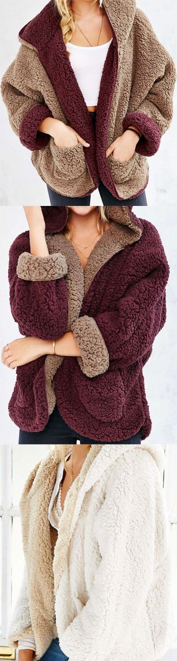 Winter Outfit------$39.99 Burgundy Reversible Faux Fur Hooded Coat by Stayingsummer!