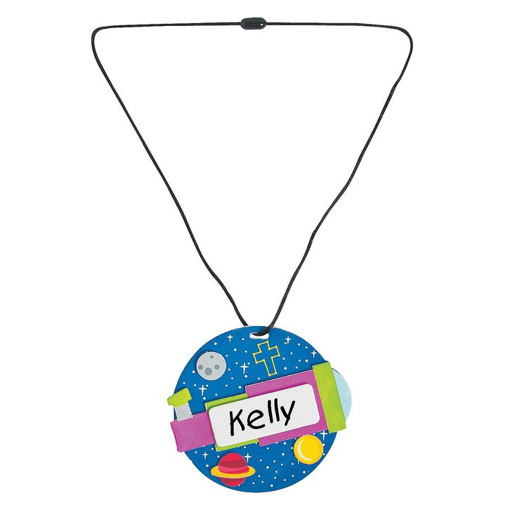 for vbs supplies this necklace craft kit lets little ones create out of this world name tags theyll look forward to wearing
