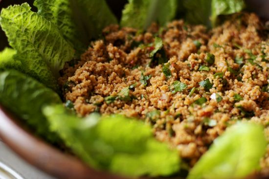 TURKISH Bulgur Salad with pomegranate paste, and red pepper pastes
