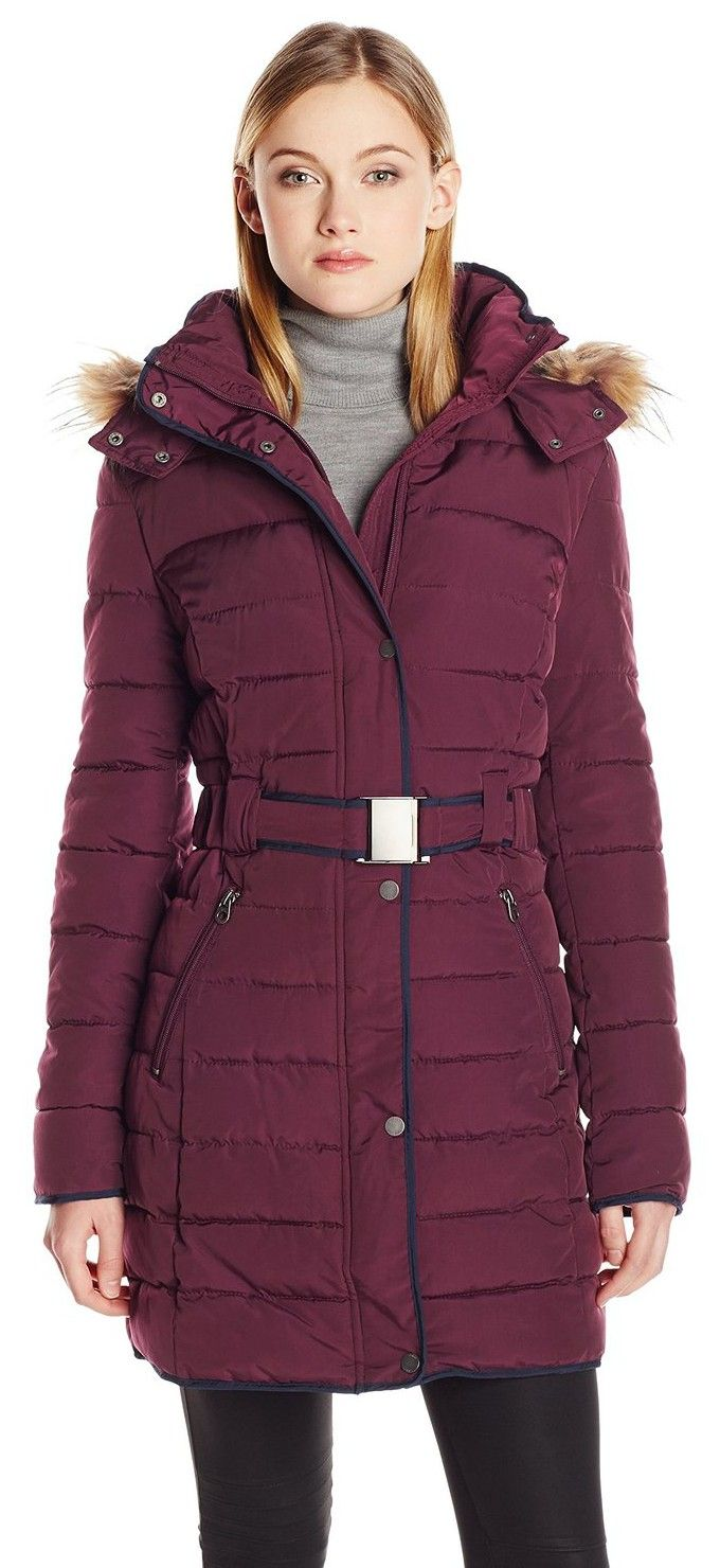 Tommy Hilfiger Women's Long Belted Down Coat with Fur Trim Hood