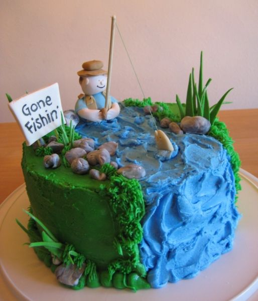 @Kathleen DeCosmo ♡♡♡ #Cake gone fishing cake - I NEED this for my dad. But I would HAVE to put: Yesterday no Alligators, Today No Fish. Hehe.