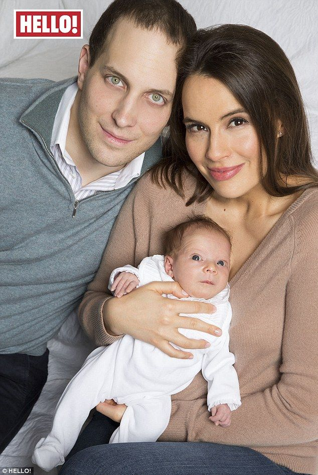 Lord Frederick Windsor and his wife Sophie Winkleman pose with their newborn, Isabella, in...