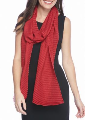 Collection XIIX Red Lurex Pleat Long and Skinny Scarf