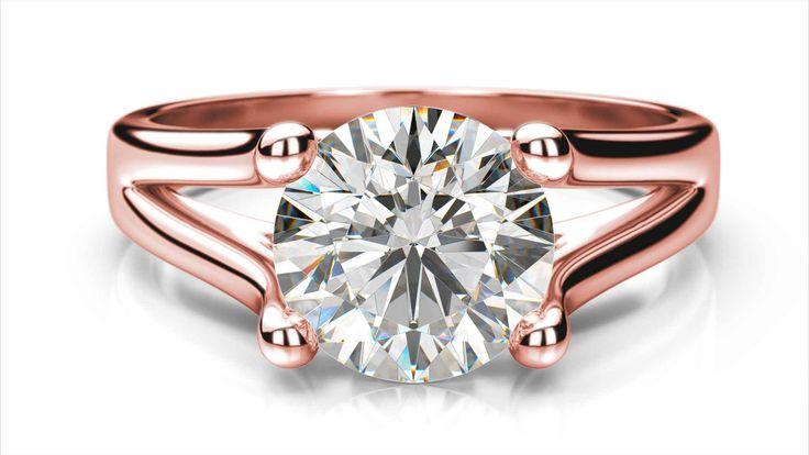 Diamantový zásnubný prsteň VIX z ružového zlata 14 karátové diamant okrúhly solitaire