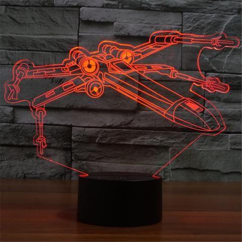 X-Wing Fighter Star Wars 3D illusion night light