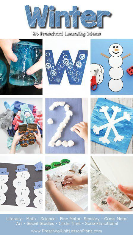 This winter lesson plans packet includes 24 preschool learning ideas. The activities incorporate play, imagination, science, sensory and art. Perfect for teachers and homeschoolers! #winter #wintertheme #curriculum #preschool #teachers #classroom #homeschool #lessonplans