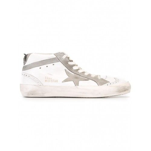 Golden Goose Uomo - Golden Goose DB Uomo Mid Star Sneakers Bianca E Grigio Leather E Suede Golden Goose GGDB Nuovo