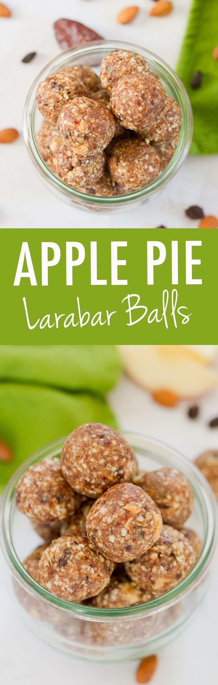 Apple Pie Larabar Balls -- Filled with apple cinnamon flavor these healthy Apple Pie Larabar Balls are the perfect portable snack.